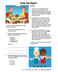 Kids Eat Right Quiz
