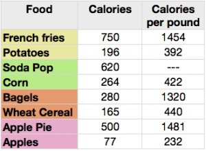 calorie content of food lab