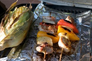 Grilled Chicken Fajita Kabob Skewers and Grilled Corn on the Cob for MyPlate