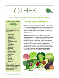 Other Vegetables MyPlate Handout