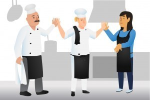 Chefs High Fiving