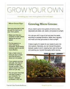 Grow Your Own Micro Greens Handout