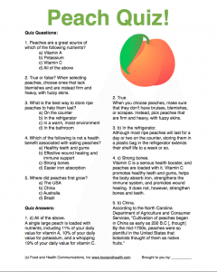 Peach Month Quiz Handout