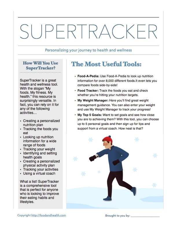 Super Tracker Handout Food And Health Communications